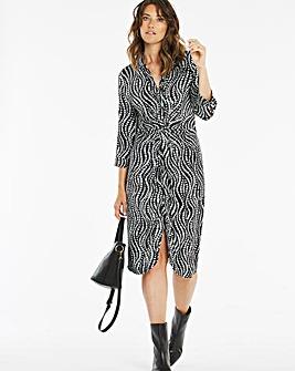 Spot Print Twist & Tie Front Shirt Dress