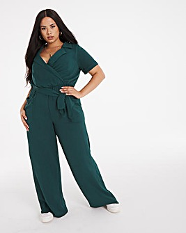 Bottle Green Tie Waist Collared Jumpsuit