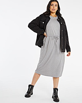 Grey Spot Jersey Drawstring Waist Dress