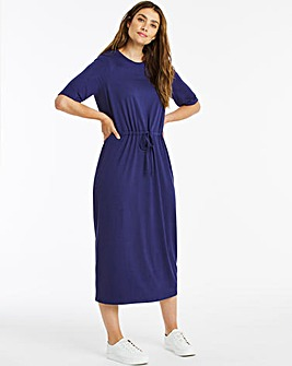 Indigo Jersey Drawstring Waist Dress