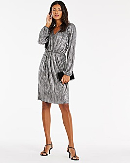 Silver Metallic Plisse Dress