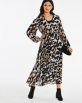 Animal Print Pleated Midi Dress