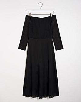Black Mesh Bardot Midi Dress