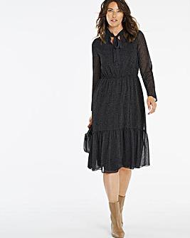 Black Sheer Dobby Flock Spot Dress