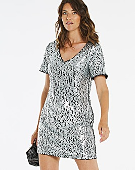 Silver Sequin V Neck Shift Dress