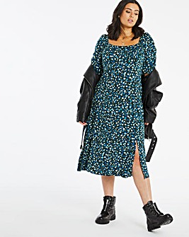 Green Animal Print Square Neck Midi Dress with Puff Sleeves