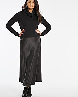 Black Jersey Satin Mix Midi Dress