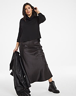 Black Jersey Satin Mix Midi Dress