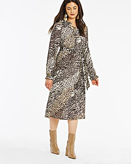 Animal Print Tie Neck Midi Dress
