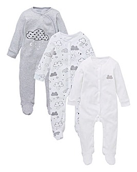Unisex Pack of Three Sleepsuits
