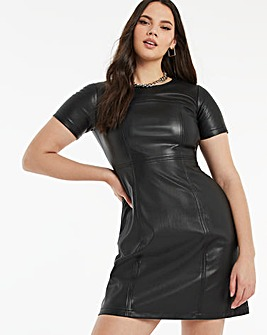 Black Short Sleeve PU Dress