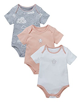 Baby Girl Pack of Three Star Bodysuits