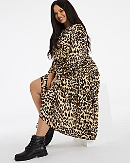 Leopard Print Tiered Satin Smock Midi Dress