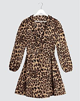 Leopard Twist Front Satin Skater Dress