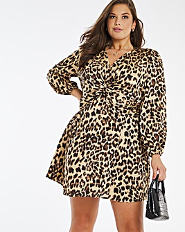 Leopard Twist Front Satin Skater Dress