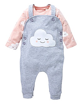 KD Baby Girl Dungaree and T-Shirt Set