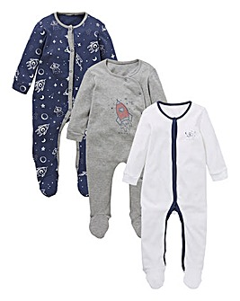Baby Boy Pack of Three Rocket Sleepsuits