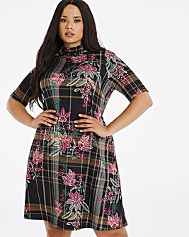 Floral Check High Neck Swing Dress