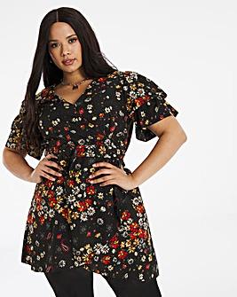 Floral Belted Wrap Skater Dress