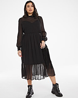 Black Dobby Spot Tiered Midi Dress