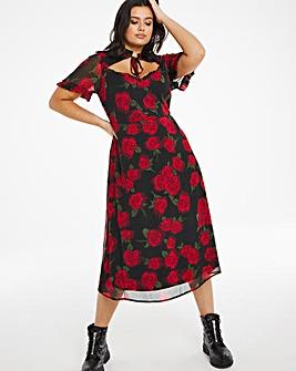 Rose Print Cut Out Midi Dress