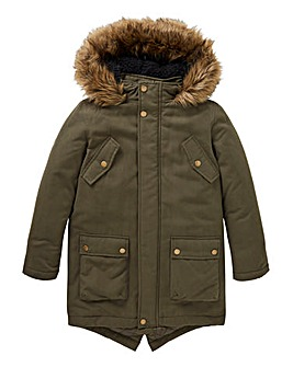 Boys Khaki Parka Coat