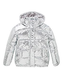 Girls Silver Padded Coat