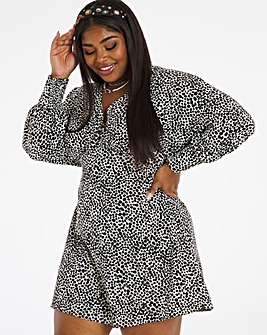 Print Exaggerated Sleeve Swing Dress