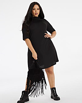 Black Supersoft High Neck Swing Dress