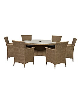 BALI 6 Seater Round Carver Dining Set