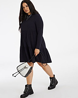Navy Ribbed Tiered Smock Dress