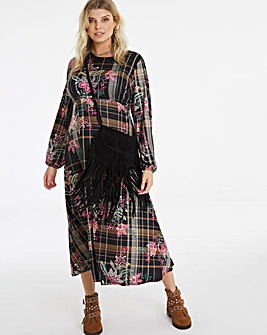 Black Check Supersoft Jersey Midi Dress