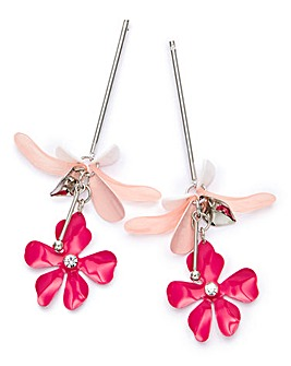 Flat Flower Drop Earrings