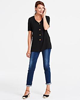Black Button Front Blouse