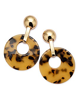 Resin Tortoise Drop Earrings