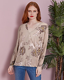 Floral Foil Print Bubble Hem Wrap Blouse