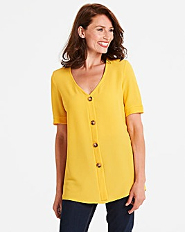 Mustard Button Front Blouse