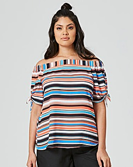 Stripe Bardot Blouse with Tie Sleeve