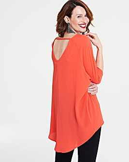 Orange Dip Back Tunic
