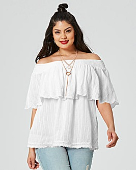 White Embroidered Frill Bardot