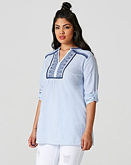 Soft Blue Roll Up Sleeve Tunic