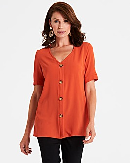 Orange Button Front Blouse