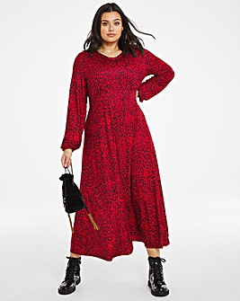 Red Animal Jersey Midi Dress