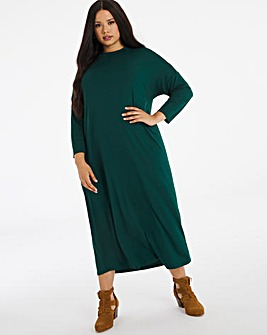 Emerald Green Oversized Midi T-Shirt Dress
