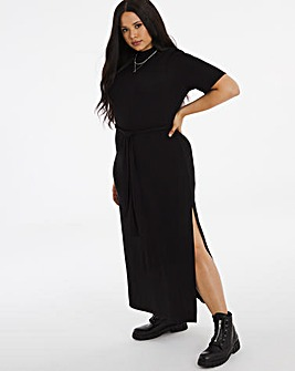 Black Batwing Sleeve Midi Dress