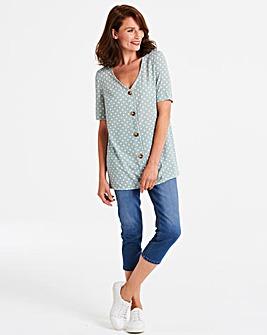 Sage Spot Print Button Front Blouse