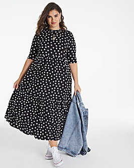 Mono Spot Supersoft Tiered Midi Dress