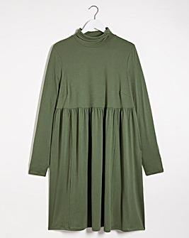 Khaki Supersoft Roll Neck Smock Dress