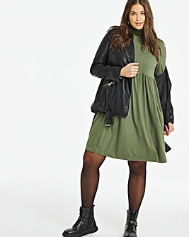 Khaki Supersoft Roll Neck Smock Dress