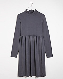 Grey Supersoft Roll Neck Smock Dress
